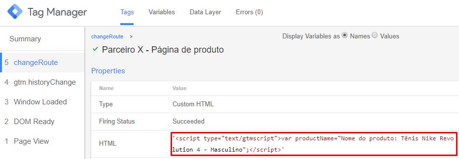 Tag do Google TagManager a partir de customEvent